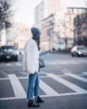 jacket,tumblr,white fur jacket,white jacket,fur jacket,faux fur jacket,denim,jeans,blue jeans,cropped jeans,boots,black boots,flat boots,bag,black bag,grey beanie,beanie,top,striped top,stripes