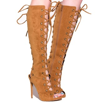 shoes boots lace up lace up boots tan tan boots peep toe boots knee high open toes knee high boots