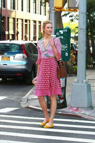 dress wrap dress pink pink dress spring dress spring outfits karlie kloss model flats ballet flats all pink outfit