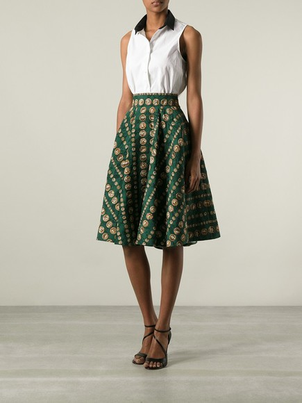 skirt dolce & gabbana printed skirt green swimwear