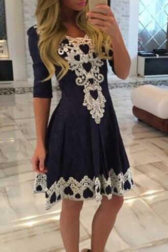 dress cute lace girly white women's stylish 1/2 sleeve lace splicing round neck a-line dress navy trendy classy rosegal-dec fashion adorable outfit clothes navy lace