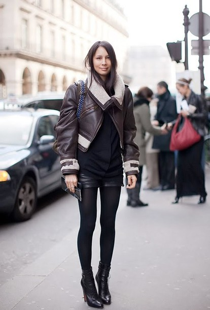 jacket brown shearling jacket shearling jacket shearling brown jacket top black top black sweater shorts leather shorts black shorts boots black boots tights fall outfits streetstyle opaque tights