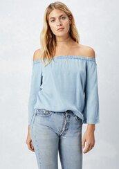 blouse,bell sleeve top,bell sleeves,tencel blouse,tencel,boho,bohemian,70s inspired,70s inspired top,denim,denim top,summer blouse,summer,off the shoulder top
