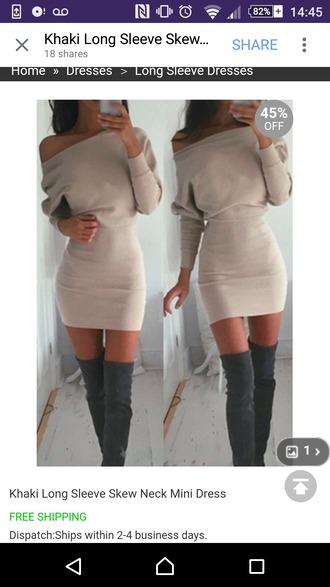 dress jumper winter outfits jumperdress khaki fashion amazing beautiful autumn/winter