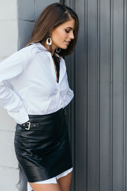 Skirt: tumblr, leather skirt, black leather skirt, mini skirt ...