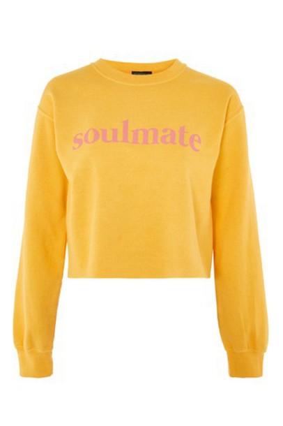 Topshop sweatshirt cropped yellow sweater