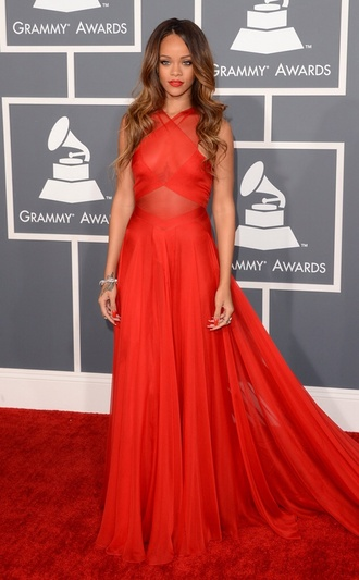 red dress rihanna prom dress