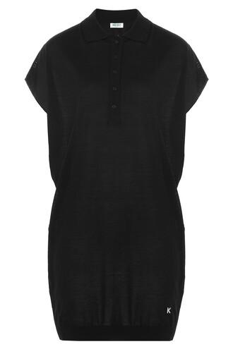 top tunic draped wool black