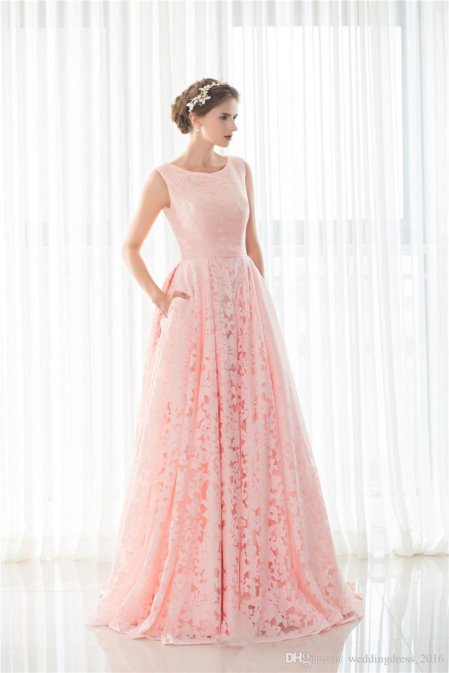 Pink Lace 2017 Christmas Prom Party Dresses Long Women Lady Evening ...