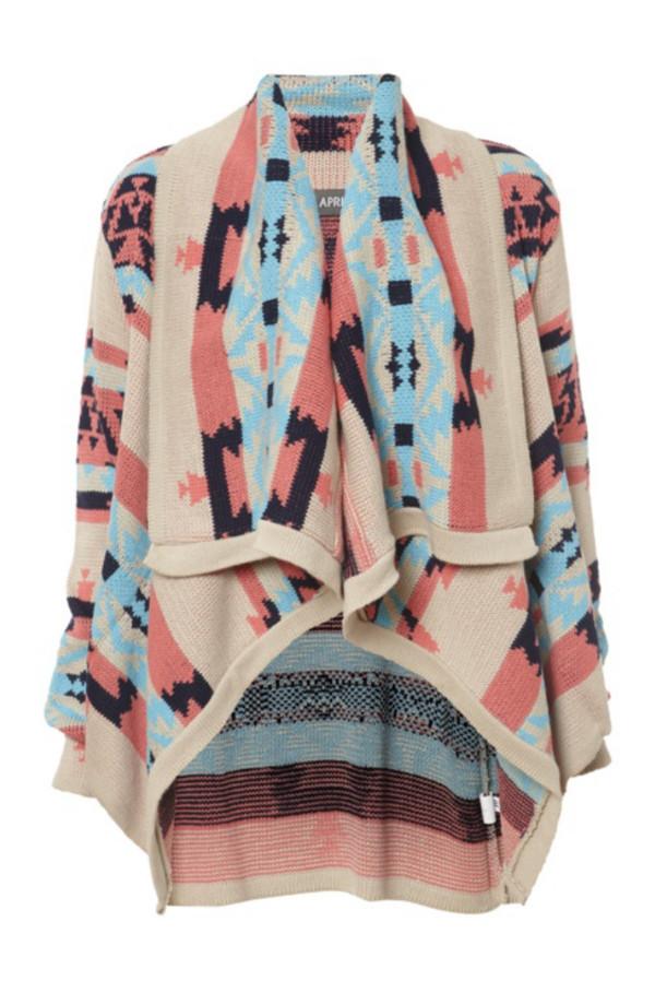 coat aztec blue light brown black