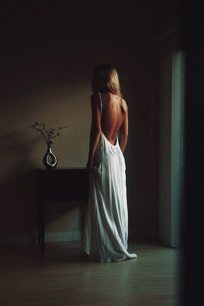 dress white dress long dress classy dress naked back flowy dress
