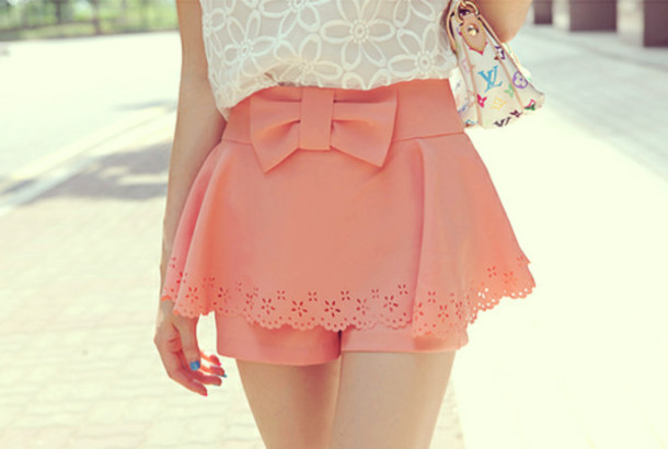 skirt pink ruffle bow shorts salmon cute original clothes high waisted