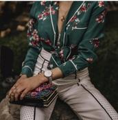 top,green,pajamas,satin,floral,oriental print