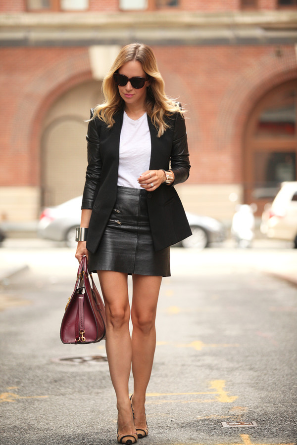 brooklyn blonde blogger jacket t-shirt bag skirt white t-shirt black blazer burgundy bag sunglasses zipper leather skirt brown heels
