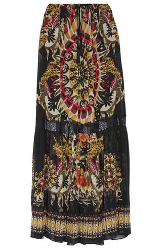 skirt maxi skirt maxi chiffon lace black silk