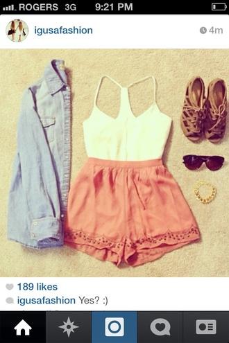 shorts lace tank top pink shorts jacket