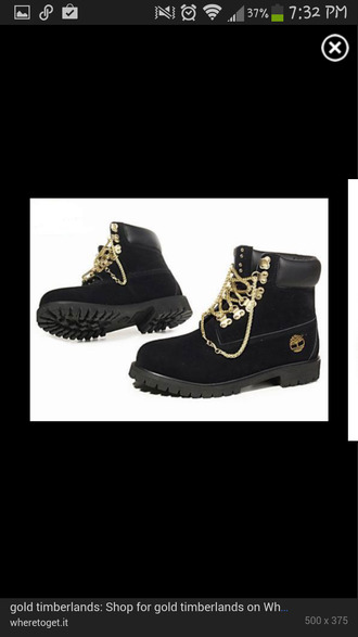 shoes black timberlands gold chain size 6 boys size 7.5 or 8 womens gold timberlands and gold chain timberlands custom timberlands blouse