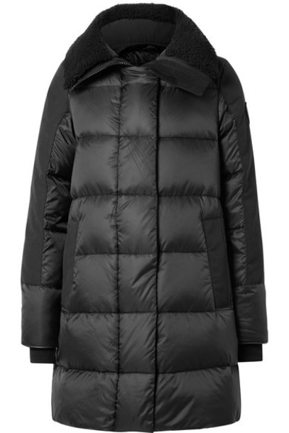 canada goose parka shell quilted leather black coat