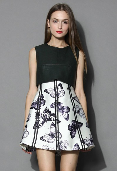 butterfly chicwish two-tone dress faux leather butterfly dress