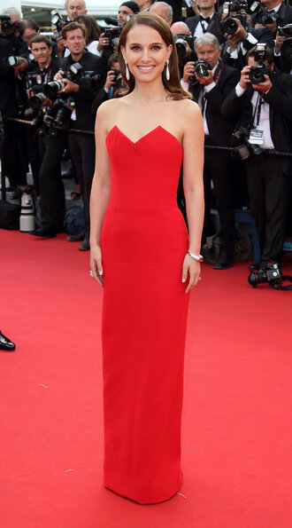 dress gown prom dress red dress red carpet dress natalie portman cannes