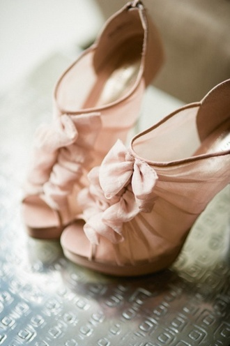 shoes high heels open toes pink wedding bows heels beige shoes heels