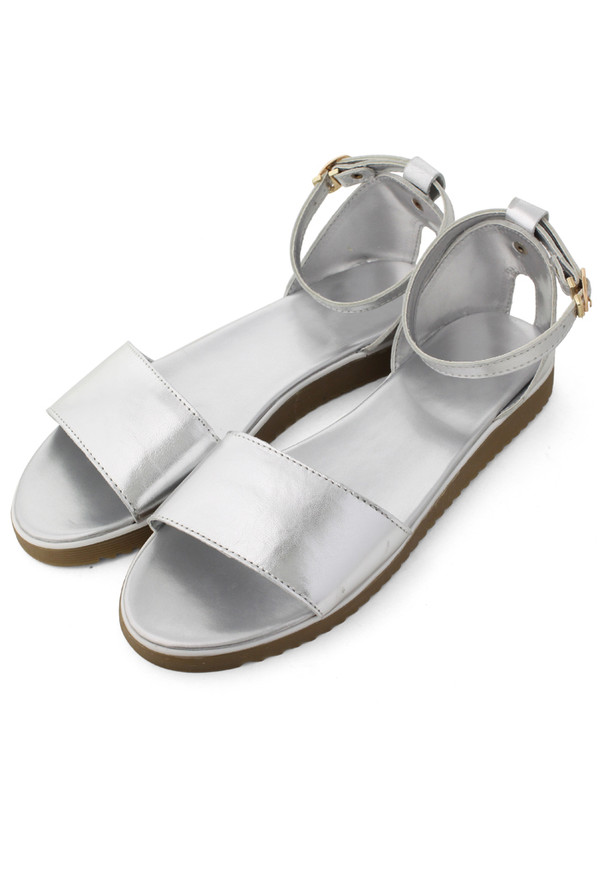 shoes refreshing new rome silver sandals silver flat sandals