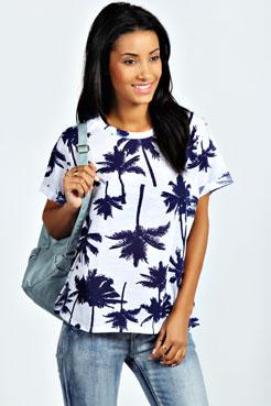 Erika Palm Print Burnout T-Shirt at boohoo.com