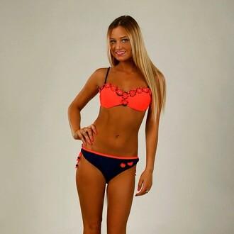 swimwear coral bikini coral bikini top bikini bottoms navy daisy fashion bandeau bikini pearl