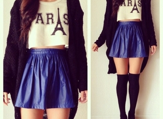blue skirt blue skirt paris white crop tops cardigan black stockings tights