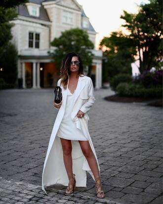dress tumblr white dress mini dress coat white coat long coat sandals sandal heels high heel sandals sunglasses aviator sunglasses all white everything shoes