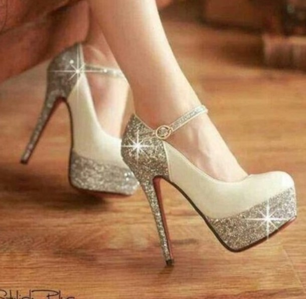 Shoes: beautiful, glitter, glitter shoes, prom shoes, cute high ...