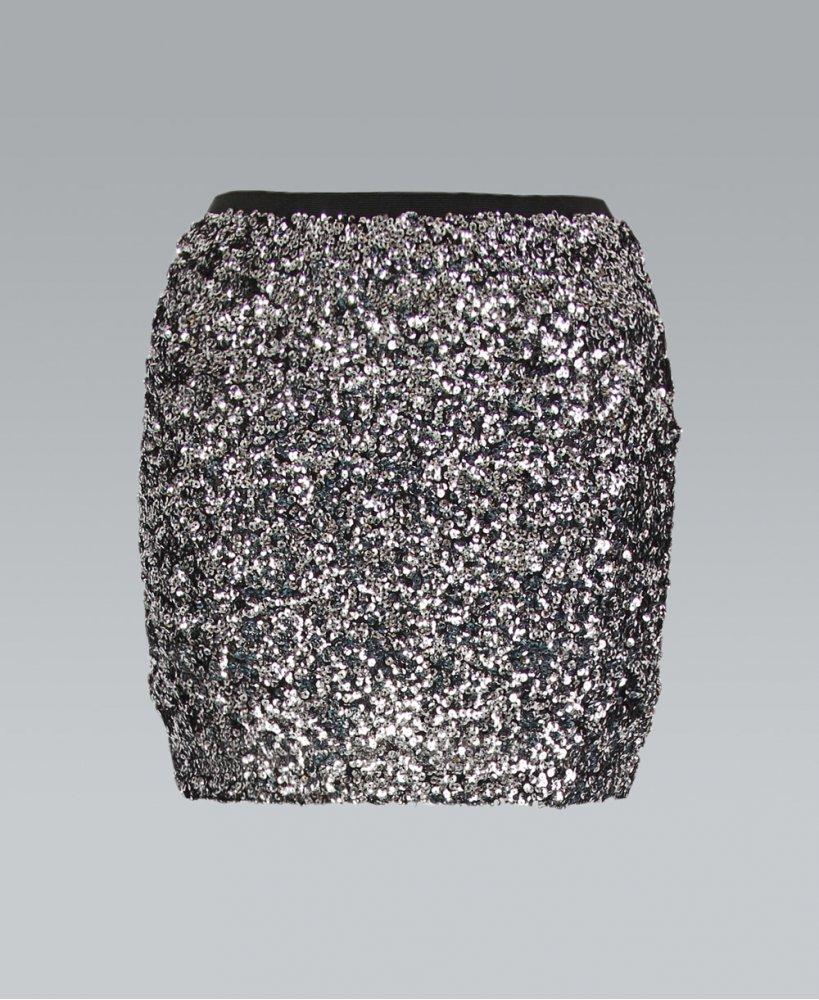Misskrisp sequin elastic waist silver mini skirt