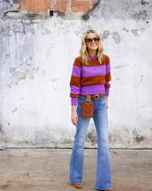 sweater,knitted sweater,striped sweater,belt bag,jeans,flare jeans,pumps,round sunglasses