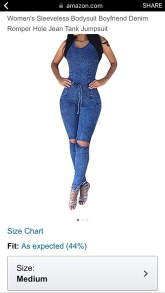 jumpsuit denim ripped jeans blue