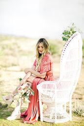 dress,tumblr,pink dress,maxi dress,slit dress,flowers,chair,short sleeve dress,short sleeve,wedding guest,party dress