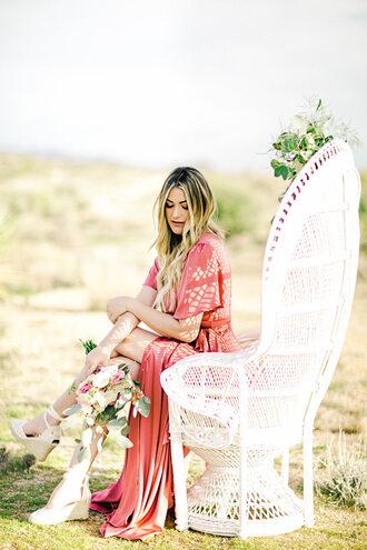 dress tumblr pink dress maxi dress slit dress flowers chair short sleeve dress short sleeve wedding guest party dress