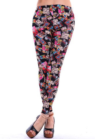 pants skinny leggings colorful cartoon