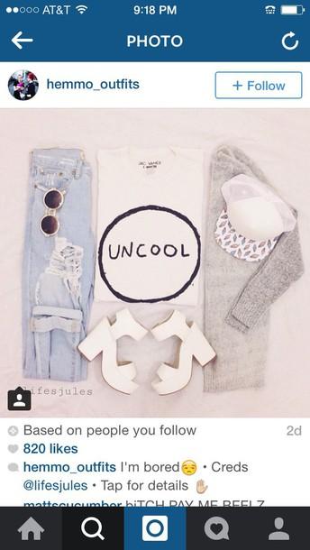skirt hat t-shirt shoes shirt jeans white