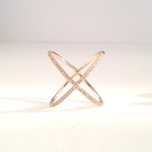 jewels ring xring crystal ring cz ring gold filled ring fashion criss cross pave ring jewelry gold