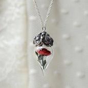 jewels,necklace,silver,belle et la bête,beauty and the beast,magical,cursed,pendant,disney,princess