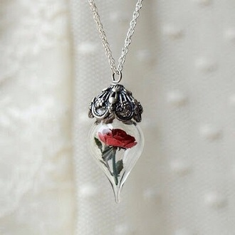 jewels necklace silver red rose belle et la bête beauty and the beast magical cursed pendant disney princess