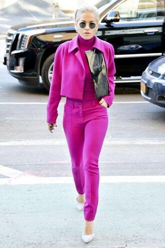pants all pink everything all pink outfit pink pants top pink top turtleneck jacket pink jacket pointed toe pumps pumps rita ora celebrity celebrity style bag black bag sunglasses spring outfits pink winter outfit