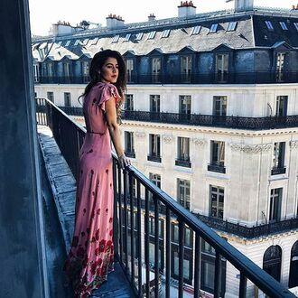 dress tumblr pink dress floral maxi dress maxi dress long dress short sleeve dress