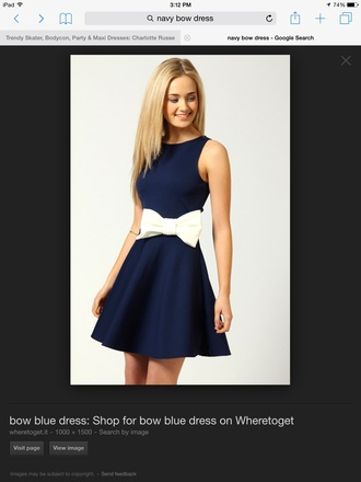 dress navy dress white bow dress short dress party summer dress for party sleeve less dresses