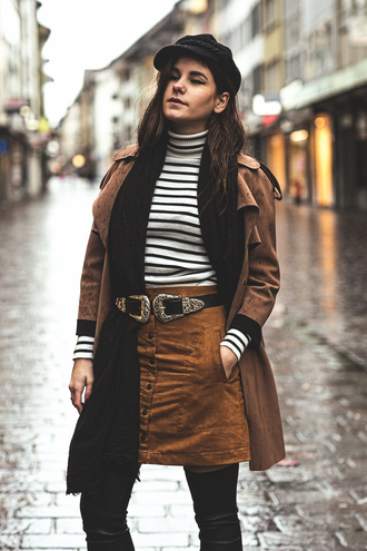 the fashion fraction blogger coat sweater skirt belt scarf hat double buckle belt western belt black belt suede skirt brown skirt striped top long sleeves suede coat brown coat black hat turtleneck over the knee boots over the knee winter outfits striped turtleneck striped turtleneck sweater