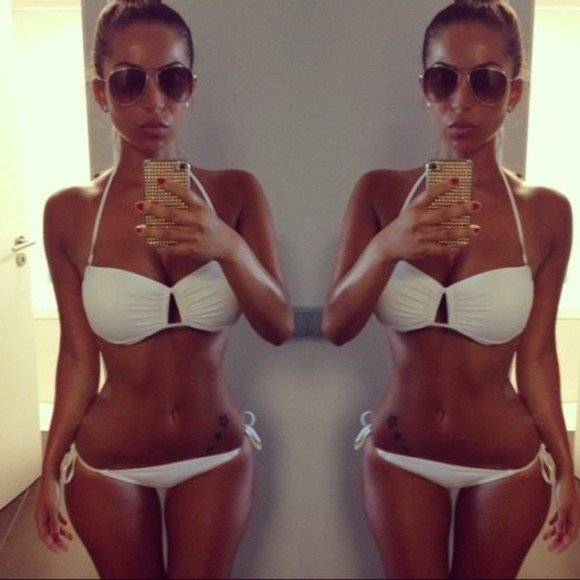 swimwear bikini white bikini summer fresh-tops.com clothes