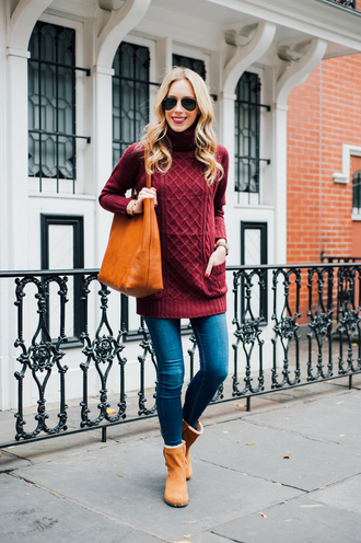 katie's bliss - a personal style blog based in nyc blogger shoes bag jeans coat jewels make-up orange bag boots winter outfits winter boots turtleneck sweater