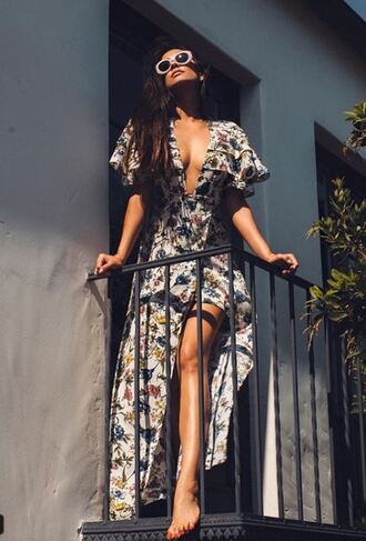 dress summer summer dress summer outfits shay mitchell instagram wrap dress sunglasses plunge dress