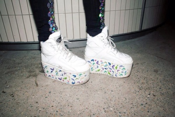 sneakers sneakers heels emoji print dolphin fish orka white shoes white shoes platform platform shoes platform sneakers