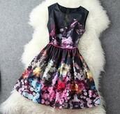 dress,little black dress,black,black prom dress,prom dress,cute dress,cute,floral,flowers,flower headband,skirt,hipster,hippie